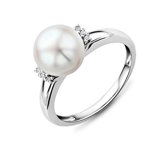 Miore MG9006RO - Anillo de mujer de oro blanco (9k) con 6 diamantes y perla cultivada de agua dulce (1 perla) (talla: 14)