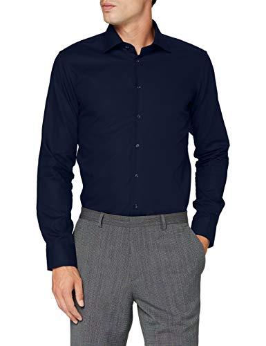 Seidensticker Herren Business Bügelfreies Hemd mit sehr schmalem Schnitt - X-Slim Fit, Dunkelblau (19), 40