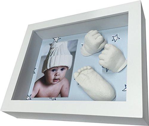 3D Baby Abformset und Bilderrahmen für Foto, Hand und/oder Fuß 3D Abdruck. Blauer Hintergrund mit Sternen. 0-6 Monate max Empfohlen. Geschenkidee Weihnachten, das ideale Babyparty Geschenk.