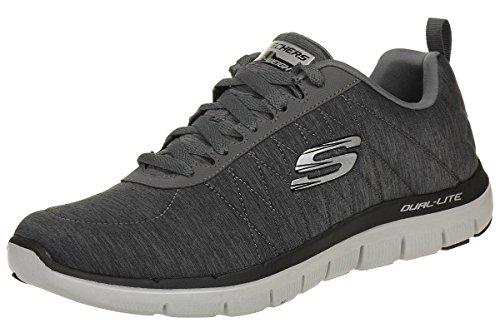 Skechers Flex Advantage 2.0-Chillston, Zapatillas de Deporte Exterior Hombre, Gris (Char Charcoal Mesh/Trim), 41 EU