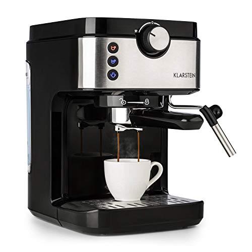 Klarstein BellaVita Espresso - 1575 W starke Espressomaschine, 20 Bar, Wassertank: 900 ml, Dampfdüse aus Edelstahl zum Aufschäumen, inkl. Tassenwärmer, spülmaschinenfeste Tropfschale, grausilber