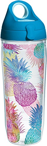 Tervis 1231310 Watercolor Pineapples Tumbler with Wrap and Turquoise Lid 24oz Water Bottle, Clear