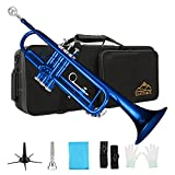 EASTROCK Trumpet Standard Brass Bb Blue Trumpet Instrument with Carrying Case,Trumpet Stand,Gloves, 7C Mouthpiece and Cleaning Kit for Student Beginner