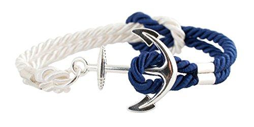 Geralin Gioielli - Pulsera para hombre, cierre con forma de ancla plateada, hecha a mano, color azul y blanco