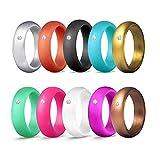 Asotagi 10 paquetes de anillos de silicona para mujer de 5,7 mm de ancho, de goma metálica, apilable