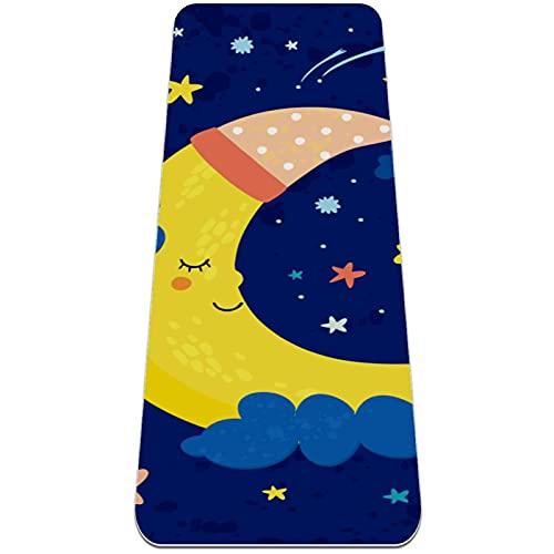 Good Night Sleeping Moon - Alfombrilla de yoga gruesa para entrenamiento, antideslizante, para pilates, gimnasios, para mujeres, 182 x 60 cm