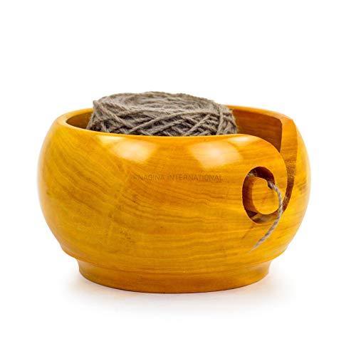 Nagina International Yellow Teak Wood Crafted Premium Tragbare leichte Strick- und Häkelgarnschale | Stichzubehör & Aufbewahrung (Mittel)