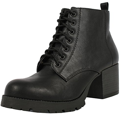 Soda Womens Nevitt Faux Leather Lace Up Chunky Heel Combat Style Boots,Black,7