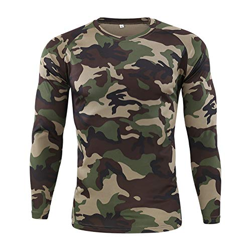 Onsoyours Herren Outdoor Schnell Trocknend Camouflage Langarm Tops Python-Muster Bluse T-Shirts Tactical Mountaineering Schnelltrocknendes Langarmshirt C Grün XL