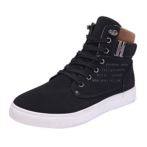 Skxinn Herren Hohe Sneaker Winterschuhe Warm Gefüttert Winter Stiefel Kurz Schnür Boots Schneestiefel Outdoor Freizeit Schuhe Gr 39-44(Schwarz-Ungefüttert,40 EU)