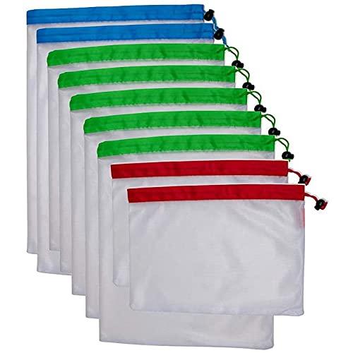 tellaLuna Bolsas Reutilizables de Malla para Productos con CordóN, Bolsas de Malla para Productos AgríColas con Tara, Bolsas de Productos Lavables para Frutas, Verduras