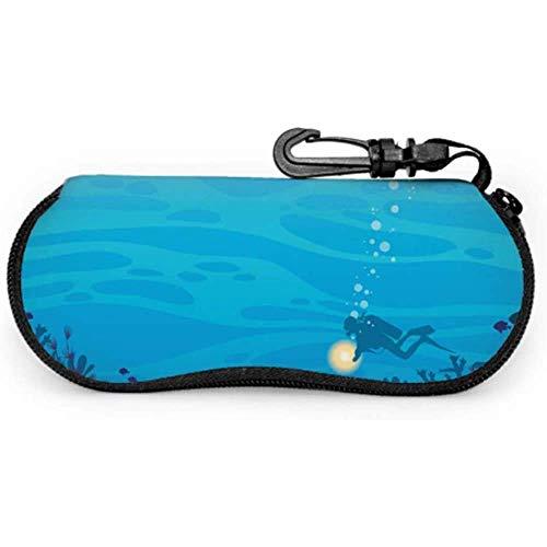 Silhouette Brillenetui für Sonnenbrillen, Korallenriff, Fische, Taucher, modernes Brillenetui