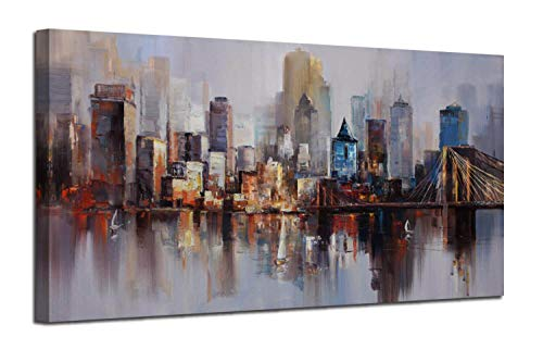 """Canvas Wall Art Prints Modern Abstract Cityscape Brooklyn Bridge Painting Framed Extra Large, Colorful New York Skyline Buildings Picture for Living Room Home Office Decor 60""""x30"""", Original Design"""