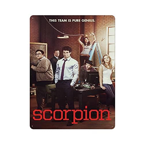High Wisdom Crime TV Series Scorpion 2 poster retrò in metallo latta segno chic art retrò pittura ferro bar gente grotta caffè famiglia garage poster decorazione parete 40x30cm