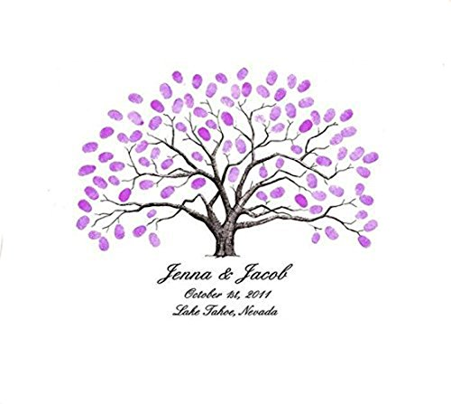 Personalize Fingerprint1pcs Wedding Tree Wedding Guest Book Tree Unique Signature Guestbook Alternative and 12 ink pads for free (for 150 guests)