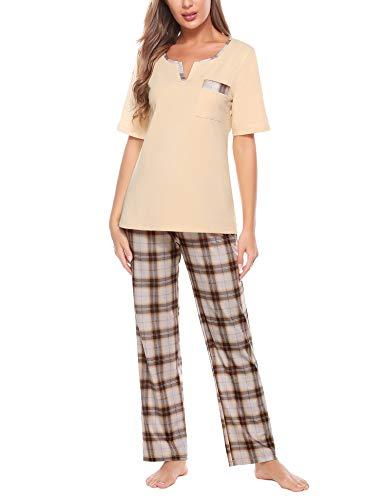 Doaraha Pijama a Cuadros para Mujer Camiseta y Pantalones Pijamas Manga Larga Celosía Ropa de Dormir de Algodón Manga Corta con Cuello de Muesca 2 Piezas (A#1 Bronceado Suave (pantalón Largo), XXL)