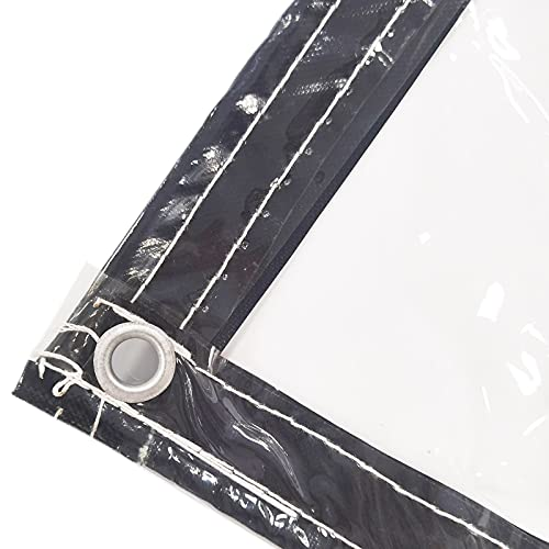 LYRONG Lona Transparente Impermeable, con Ojales 0.3mm PVC Lona Plegable Cuerda incluida para Casa/Jardín/Exteriores y Camping, 380 g/m²,Transparent_2.5x3.5m/7.5x10.5ft