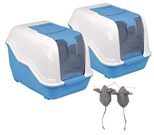 2er Sparpack XXL Katzentoilette Netta Maxi Weiss-blau mit gratis Katzenspielzeug