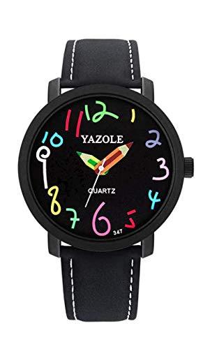 ALCENTIS – Reloj unisex con correa de piel negra – Agujas lápices y números color