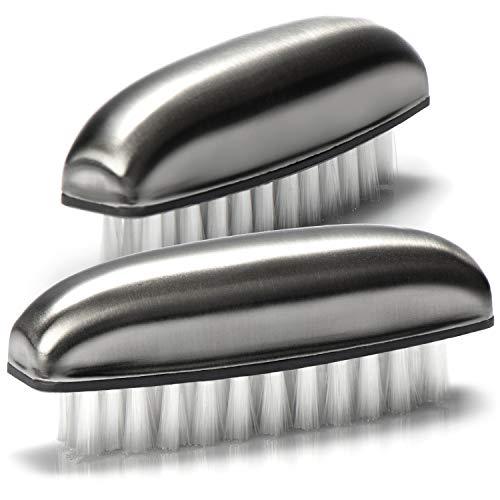 com-four® 2X Handwaschbürste aus Edelstahl - Nagelbürste für Hand und Nagel Reinigung - entfernt...