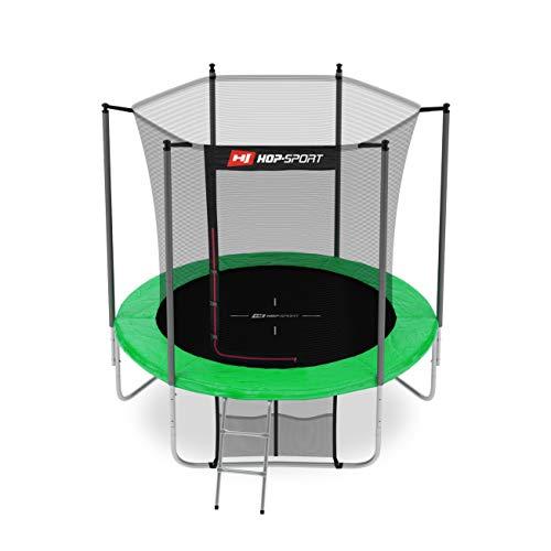 Hop-Sport Gartentrampolin Outdoor Trampolin 244, 305, 366, 430, 490 cm Komplettset inkl. Innennetz Leiter Wetterplane Bodenhaken 244cm