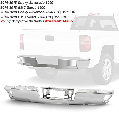 ACANII - For 2014-2018 Chevy Silverado/GMC Sierra 1500 Chrome Steel Rear Bumper Face Bar W/O Sensor Holes w/Corner Holes