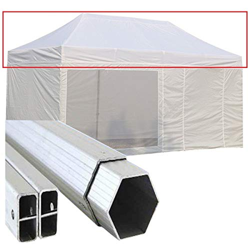 GAZEBOPIEGHEVOLI.COM Telo Tetto Gazebo Pieghevole 6x3m Alluminio Rivestito PVC 3x6 Bianco Portatile mercatini Retrattile