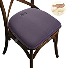 Big Hippo Chair Pads, Memory Foam Chair Seat Cushion Non Slip Rubber Back Thicken Chair Padding with Elastic Bands for Home Office Outdoor Seats (Gray-1pc)