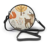 Bolso redondo mujer Women's Round Vegan Leather Crossbody Messenger Shoulder Bag Cartoon Autumn Forest Baby Animal Circle Tote Hobo Bag For Women Sling Bag