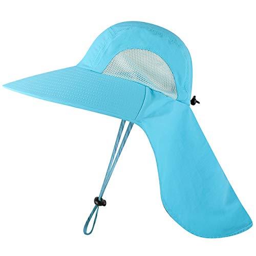 Casquette de pêche Unisexe à Large Bord Chapeau de Soleil avec Rabat de Cou pour Voyage Camping randonnée Bateau pêche, Bleu