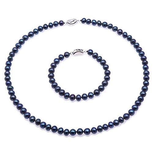 JYX suesswasser perlenkette Perlen Damen Schmuck Set - 7-8mm Flache Runde Süßwasser Perlenkette und Armband Set - (Pfau-Blau)