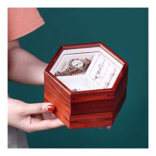 LMG Joyas Caja Palo de Rosa Hecho a Mano joyería Caja, Joyas Caja de Almacenamiento Caja de Almacenamiento (Hexagonal) Regalo de niña (tamaño : Hexagon)