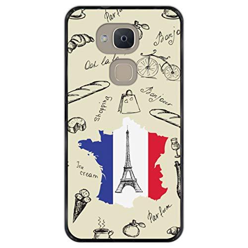 Telefoonhoesje voor [ Bq Aquaris V - VS ] tekening [ Eiffeltoren, kaart en de vlag van Frankrijk ] Zwart TPU flexibele siliconen schaal