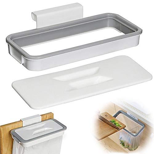 Genrics Soporte para Bolsa de Basura, 2Piezas Cubos de Basura Plegable Colgando para la Cocina Coche Oficina Baño – con Cubierta, Fácil Instalación de la Bolsa de Basura (Blanco)