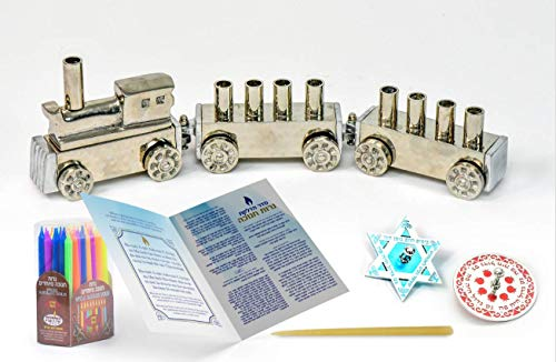 HOLY VOICE Hanukkah Menorah Premium Set – Complete Set with Chanukah Candles, Silver-Plated Menorah and Multicolored Dreidels – Interactive Game – Prayer Book with English and Hebrew Translation