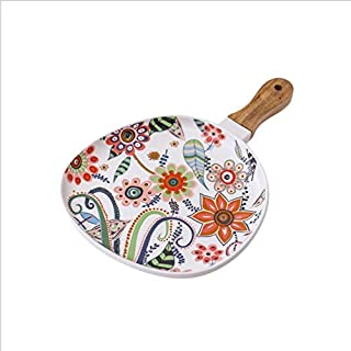 Ceramic Colored Nordic Style Dinner Plate with Wooden Handle