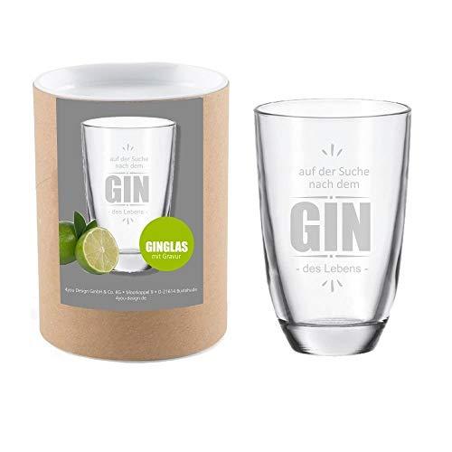 4youDesign Gin-Glas Auf der Suche nach dem Gin des Lebens mit Geschenkbox - Gin - Tonic - Longdrink - Glas - mit Gravur - Geschenk - Geschenkidee - für sie - für ihn