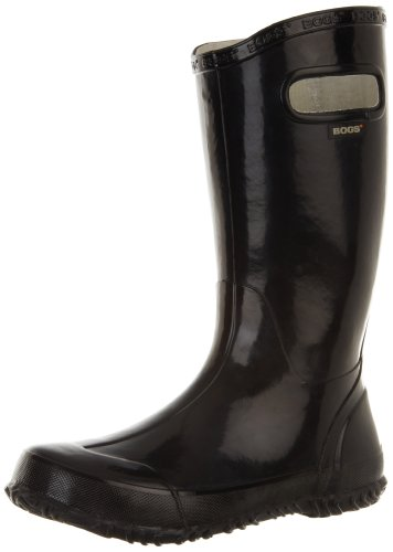 BOGS unisex child Bogs Kids Rubber Waterproof Rain Boot for and Boys Girls , All Black, 5 Big Kid US
