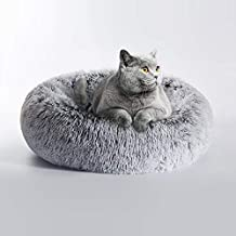 Love's cabin 20in Cat Beds for Indoor Cats - Cat Bed with Machine Washable, Waterproof Bottom - Grey Fluffy Dog and Cat Calming Cushion Bed for Joint-Relief and Sleep Improvement