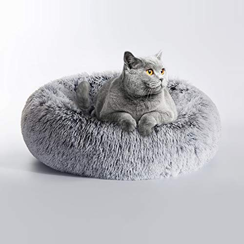 Love's cabin 20in Cat Beds for Indoor Cats - Cat Bed with Machine Washable, Waterproof Bottom - Grey...