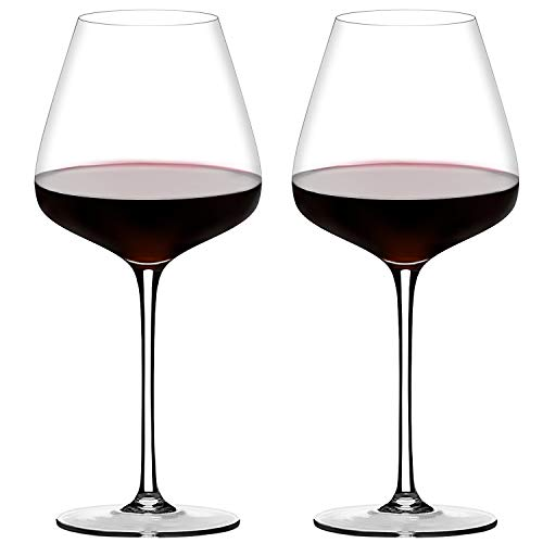 Crystal Red Wine Glasses Set of 2,Hand Blown Burgundy Wine Glasses Clear-100% Pure Lead Free Finest Crystal,21 Oz,Long Stem, Larger Bowl-Best for Wine Tasting, Birthday, Anniversary (New Package)
