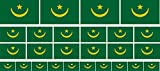 Mini Aufkleber Set - Pack glatt - 4x 51x31mm+ 12x 33x20mm + 10x 20x12mm- Sticker - Mauretanien - Flagge - Banner - Standarte fürs Auto, Büro, zu Hause & die Schule - Set of 26