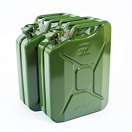 2X Oxid7 Benzinkanister Kraftstoffkanister Metall 20 Liter Olivgrün mit UN-Zulassung - Bauart geprüft