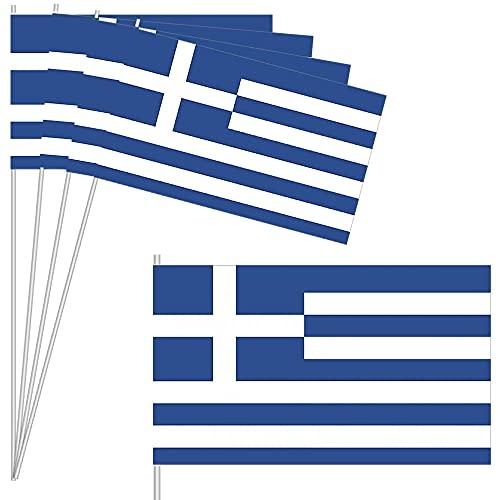 10 Fähnchen * GRIECHENLAND * als Deko für Mottoparty oder Länder-Party   Greece Athen Flaggen Fahnen Papierfahnen flag