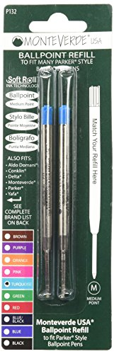 Monteverde Ballpoint Refill to Fit Parker Ballpoint Pens, Medium Point, Soft Roll, Turquoise, 2 per Pack (M132TQ)