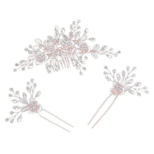 Lurrose Haarschmuck, Blumendesign, mit Strasssteinen, Roségold, 3 Stück