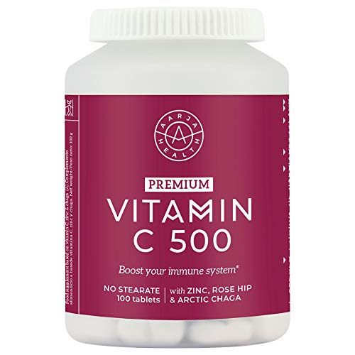 Vitamin C 1000mg and Zinc 20mg per Daily Serving with Arctic Chaga and Rosehip – Immune System Support – 100 High Strength Vegan Tablets with Ascorbic Acid – Made in Finland by Aarja Health
