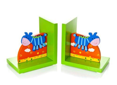 Mousehouse Gifts Blau Zebra Safari Buchstützen für Jungen und Mädchen Kinderzimmer
