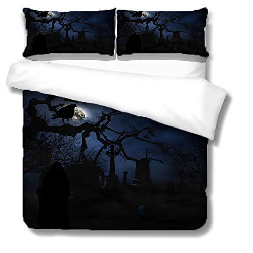 Duvet Cover Set Halloween night Quilt Duvet Cover with Zipper Closure 3 Pieces Hypoallergenic Soft Microfiber Bedding Set with 2 Pillowcases-180x200cm