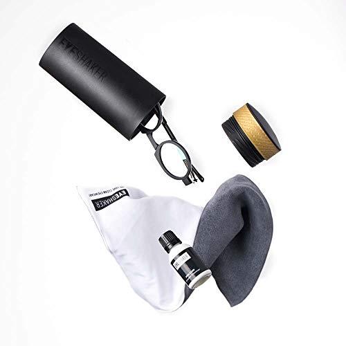 EYESHAKER Set - Patentiertes Brillenreinigungsgerät im Komplettpaket mit EYE-SHAKER, Spezialreiniger und Mikrofaser Brillenputztuch - Innovative Brillenreinigung wie vom Optiker für Gläser und Gestell